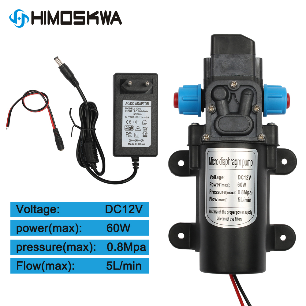 DC 12V 60W Micro Electric Diaphragm Water Pump Automatic Switch 5L/min High Pressure Car Washing Spray Water Pump 0.8Mpa 5L/min