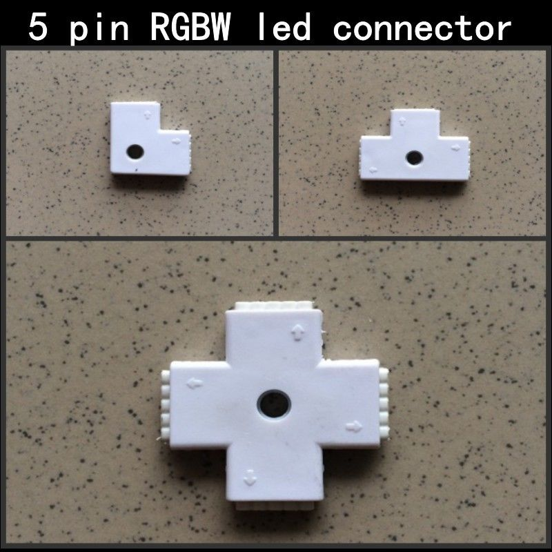 1pcs L T X Shape 5 Pin RGBW Connector For 5050 RGBW RGBWW LED Strip Easy To Install Free Shipping High Quality