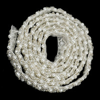 15mm Width 3Yards=2.7Meters Pearl Beaded Embroidered Rhinestones Applique Braided Lace Ribbon Trim For Wedding Dress