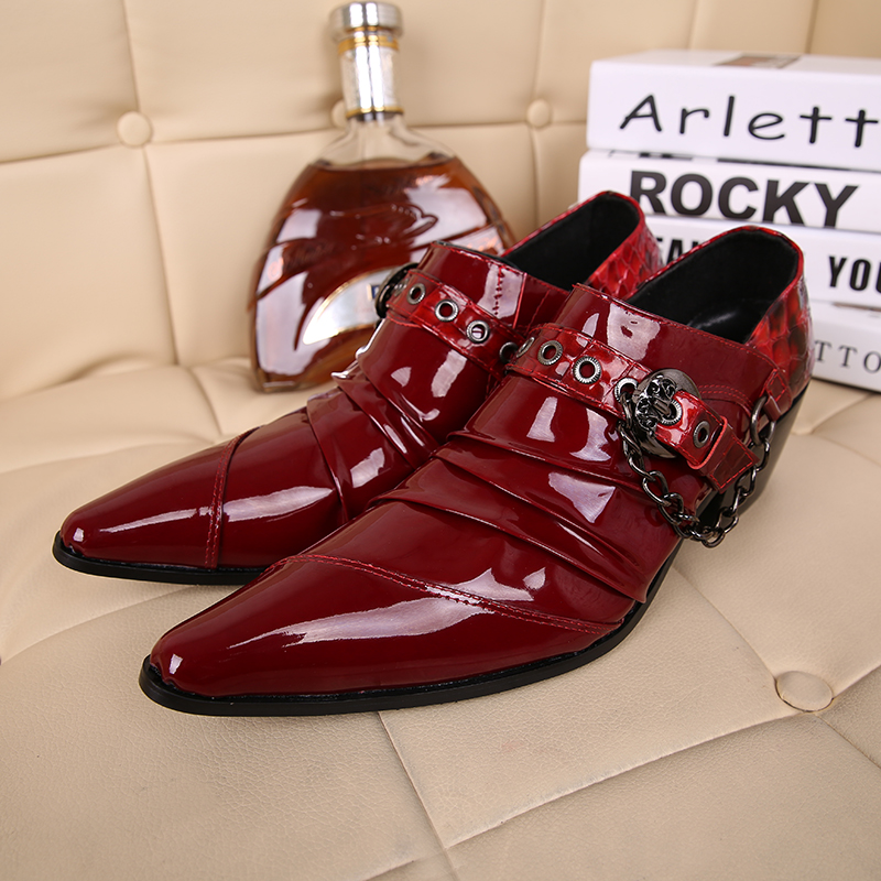 Mens shoes high heels red party wedding mens buckle strap chains leather shoes oxford slipon formal shoe lasts luxuryMens shoes high heels red party wedding mens buckle strap chains leather shoes oxford slipon formal shoe lasts luxury