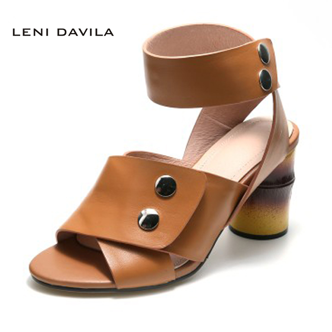 LENI DAVILA Free shipping Summer Full Grain Leather Contracted fashion sandals High heels handmade Sexy shoes for women top quality wholesale price slipper mixed color thick high colorful spike heels fashion sexy women summer sandals free shipping