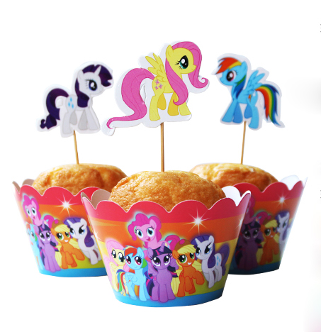 24pcs My little <font><b>Pony</b></font> <font><b>Party</b></font> Paper Cupcake wrappers toppers for kids <font><b>party</b></font> Birthday decoration cake <font><b>cups</b></font>(12 wraps+12 topper)