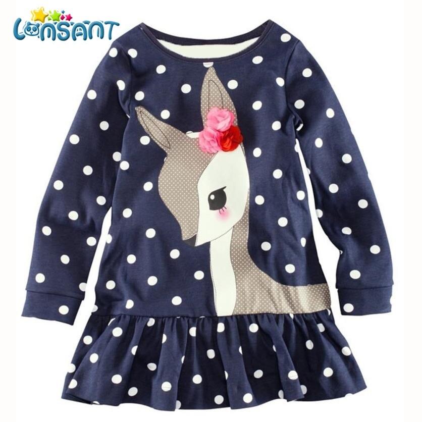 LONSANT New Baby Girls Vestidos 2017 Autumn Kids Clothes Long Sleeve Deer Tops T-Shirt Dresses Roupa Infantil Menina стоимость