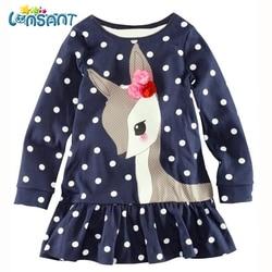 LONSANT New Baby Girls Vestidos 2017 Autumn Kids Clothes Long Sleeve Deer Tops T-Shirt Dresses Roupa Infantil Menina