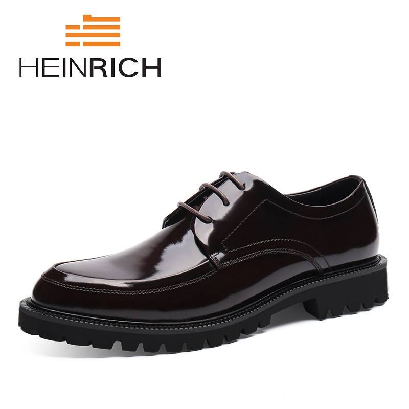 HEINRICH Hot Sale High Quality Derby Men Shoes Lace-Up Bullock Business Dress Shoes Height Increasing Male Formal Shoes business dress shoes fashion hot sale high quality brand genuine leather men lace up british formal shoes male footwear 42 43 44