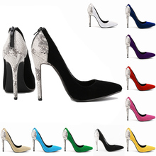 Fashion classic high-heeled shoes pointed toe fashion velvet serpentine pattern color block decoration ol shallow mouth shoes 35