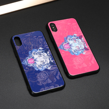 цена на Japanese painted white tiger totem explosion-proof glass case for iPhone XS MAX / X / 6s / 7 / 8plus / XR anti-drop phone case