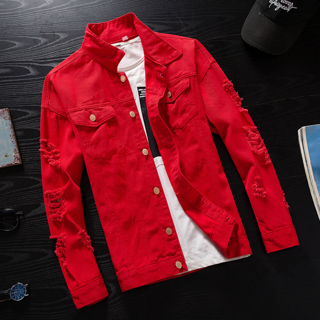 Men's Denim Jacket Men Windbreaker Streetwear Jeans Jacket Homme Casual Fashion Coat Pink Red Black(China)