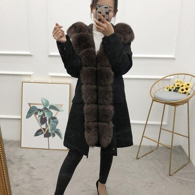 Veste dhiver femmes outwear parkas épais naturel réel fourrure de renard col manteau 2019 épais chaud rex fourrure de lapin parkas nouveau
