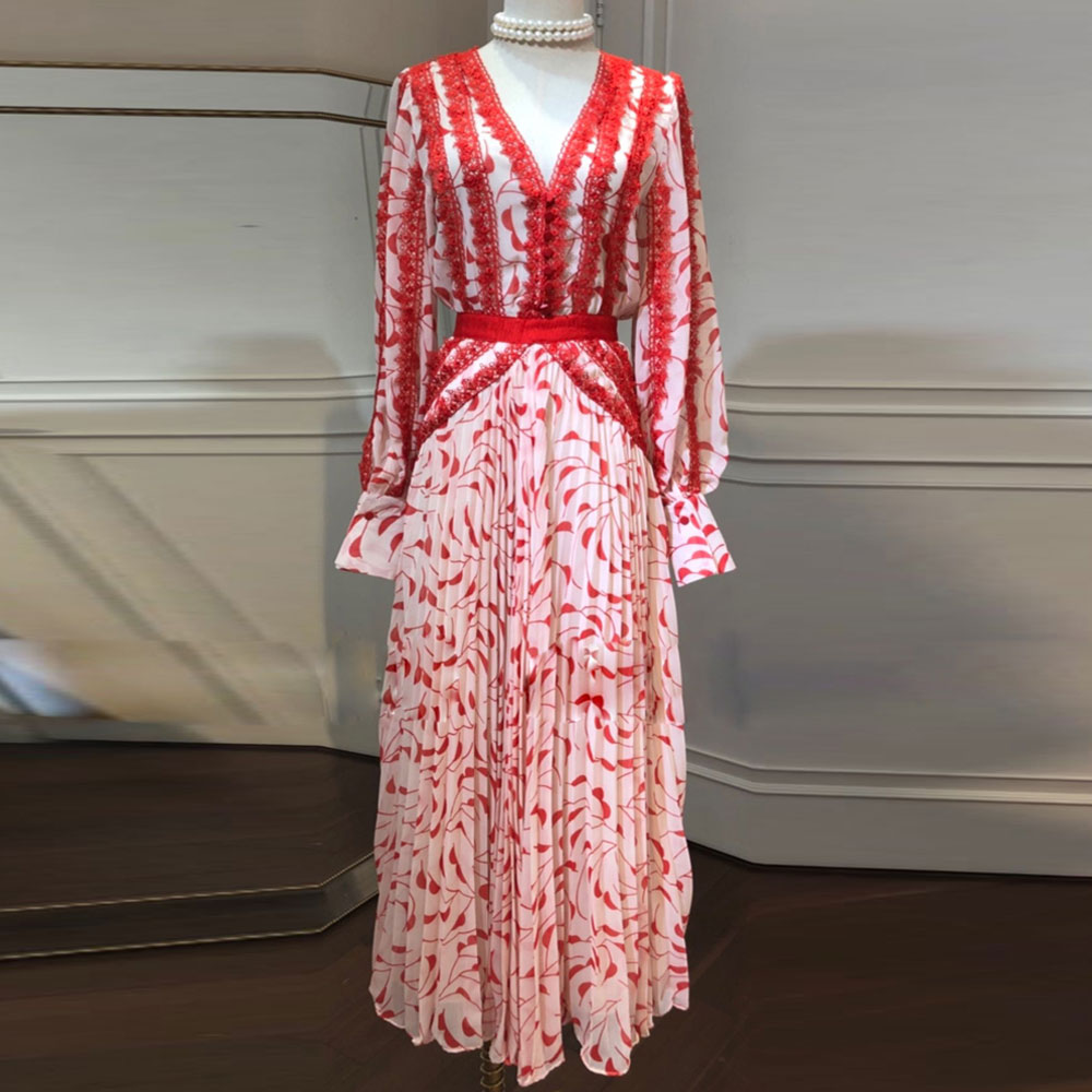 Red RoosaRosee Runway 2019 Women Summer Red Floral Print Lace Sexy V Neck Long Maxi Holiday
