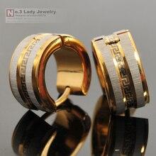 316l Stainless Steel Earrings Stud, Silver gold Greek Key Men Earrings For Punk ROCK, ear cuff, Christmas Gift Jewelry, WE006