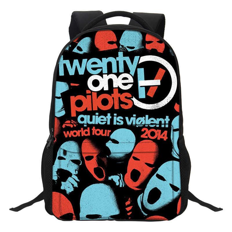 precio competitivo materiales superiores último estilo de 2019 VEEVANV Fashion Cartoon Boys Laptop Shoulder Bags Twenty One Pilots  Printing Backpacks School Bookbag for Teenagers Boys Mochila