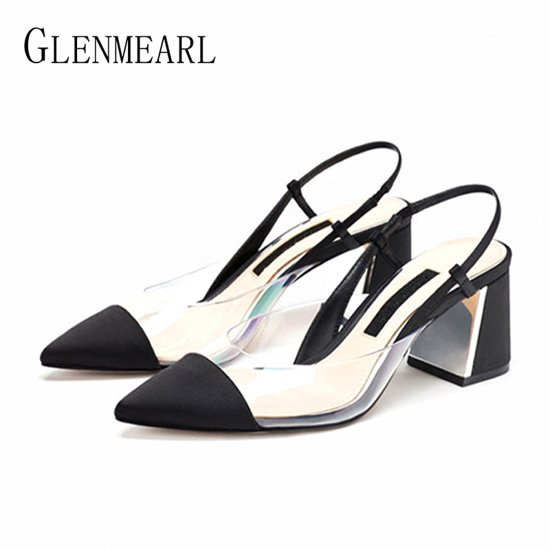 High Heels Woman Pumps Brand Women Shoes Pointed ToeThick Heel  Female Party Shoes Summer Spring Plus Size Black Lady Sandals DE