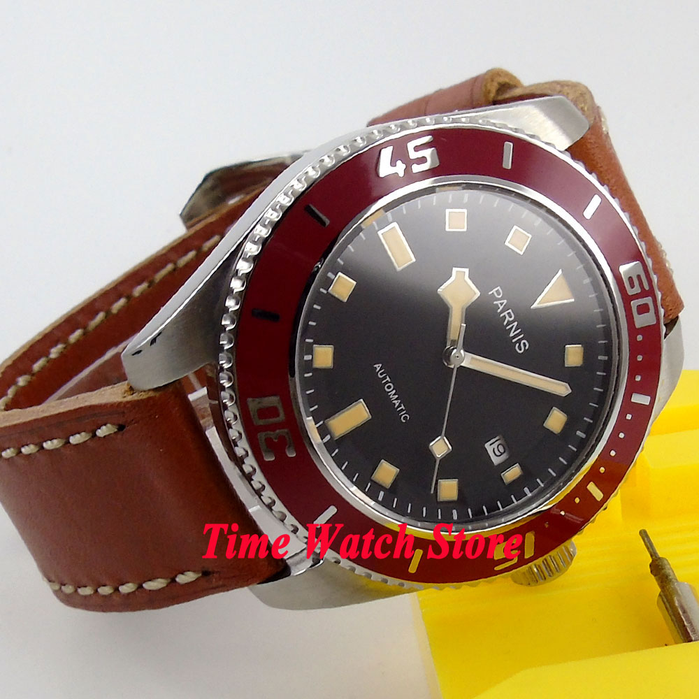 лучшая цена Parnis 43mm black dial date orange marks sapphire glass 10ATM MIYOTA 821A Automatic mens watch 150