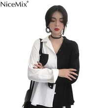 NiceMix Chic White Black Shirt Women Blouse Contrast Color Loose Harajuku Tops And OL Shirts Blusas Camisas Mujer 2019