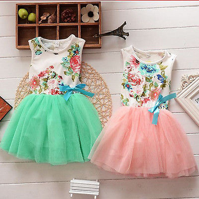 2017  Kids Baby Girls Dress Party Flower Tops Bow Tutu Dresses Sundress Casual Clothes  1-5Y