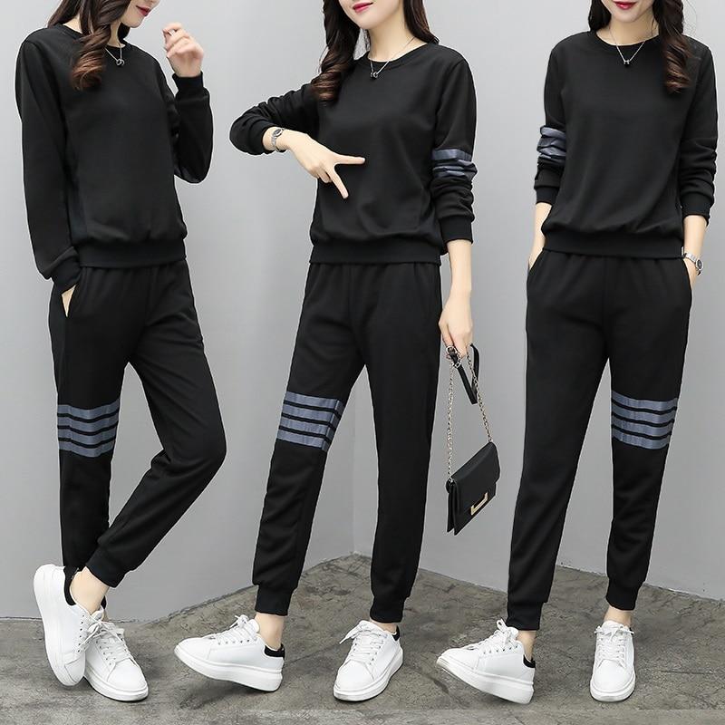 b32b6f813a07f Mujeres ropa 2018 nueva 2 unidades conjuntos deportivos mujer suelta ropa  deportiva femenina casual tracksuit mujeres tops + long pantalones conjuntos  en ...