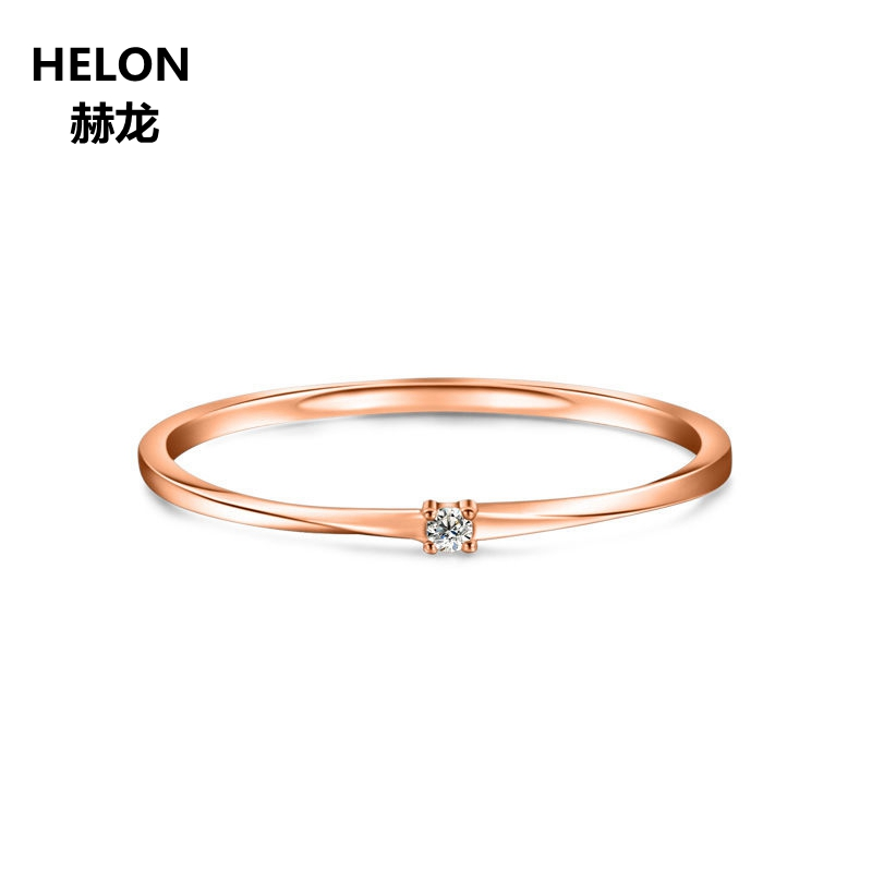 Solid 10k Rose Gold SI/H Full Cut Natural Diamonds Engagement Ring Wedding Band Fine Jewelry Women Ring solid 14k rose gold 4 5mm round cut natural morganite engagement ring si h full cut natural diamonds wedding ring fine jewelry