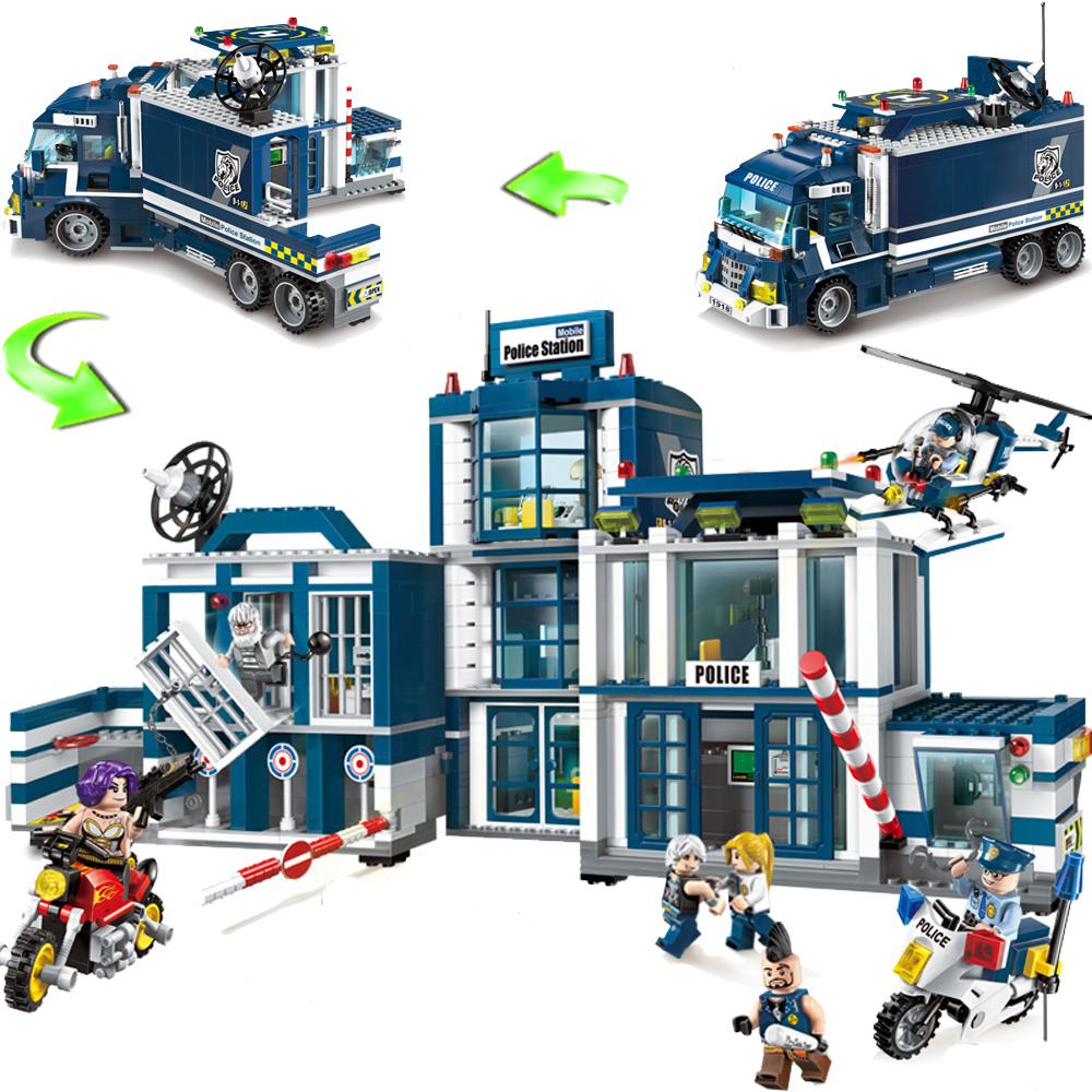 ENLIGHTEN Police Station Building Block Sets Helicopter Model Educational DIY Construction Brick Compatible With Legoed Toy цена