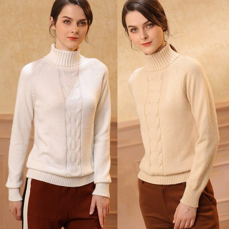 Sweater Kaschmirpullover Langarmpullover Twist f e Rollkragenpullover Pullover Jerseybergro 100reiner Weibliche TiPZuOkX