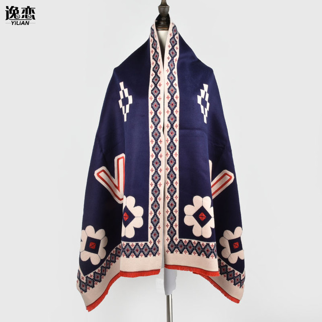 b0a8b58877e4c YI LIAN Brand Flower Print Cotton&Cashmere Scarf Top Quality Winter Women  Scarf Dark Blue color Fashion