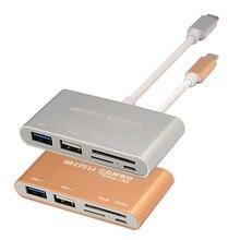 DEPZOL USB 3.1 Type-C to High Speed USB 3.0 Hub SD TF Memory Card Reader OTG Adapter High-end Aluminum Alloy Memory Cards Reader