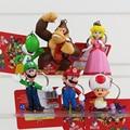 Clásico Super Mario Bros figura juguetes con llavero Mario Luigi Yoshi Peach Goomba King Kong muñecas del PVC