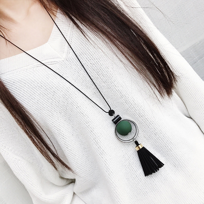 Women Necklace Long Necklaces & Pendants Wood Beads Sweater Necklace For Women Jewelry Ожерелье