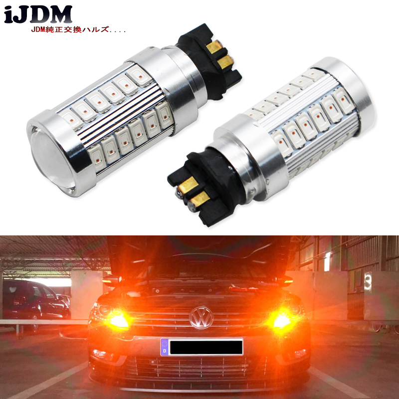 iJDM Canbus Error Free PW24W PWY24W LED Bulbs For Audi BMW Volkswagen Turn Signal Lights or Daytime Running Lights,Amber yellow ijdm amber yellow error free bau15s 7507 py21w 1156py xbd led bulbs for front turn signal lights bau15s led 12v