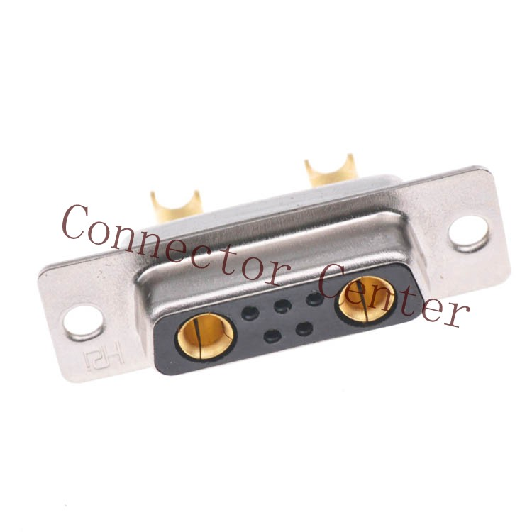 High Power 7W2 Female Solder Type D sub Connector Machined Pin Full Gold Flash Wire Type