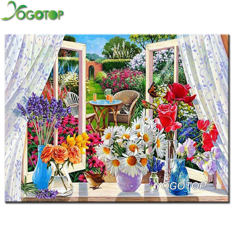 Paint Window Sill Interior: YOGOTOP Diamond Embroidery Window Sill Flower Diy Diamond