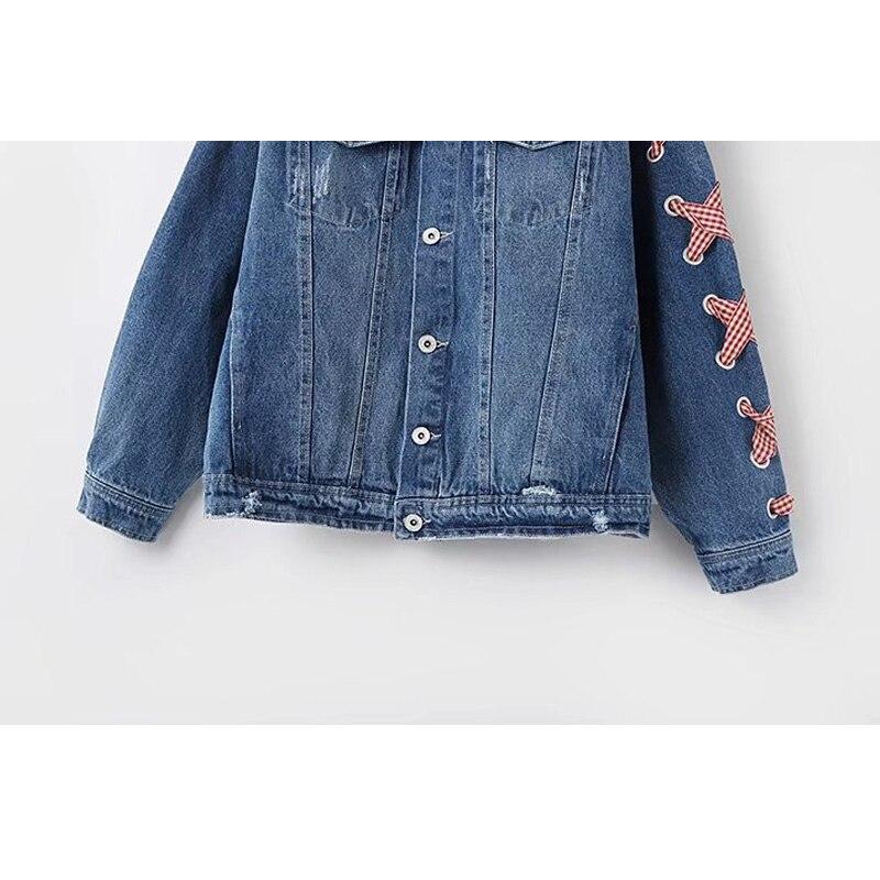 Casaco Veste Blue Bleu Survêtement Femmes Automne Poche Denim Trou Déchiré Manteau Chaqueta Jeans Mujer Feminino Hiver Rubans 66waqr5
