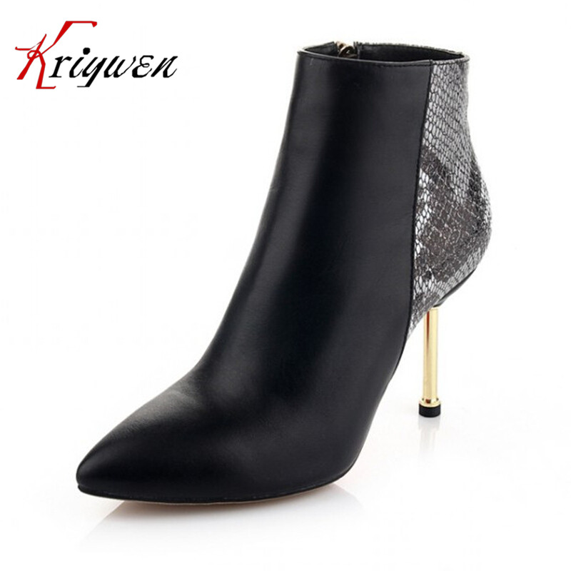 ФОТО 2015 Newest Real genuine leather boots Cowhide women's ankle boots fashion Pointed toe thin high motorcycle boots dress shoes