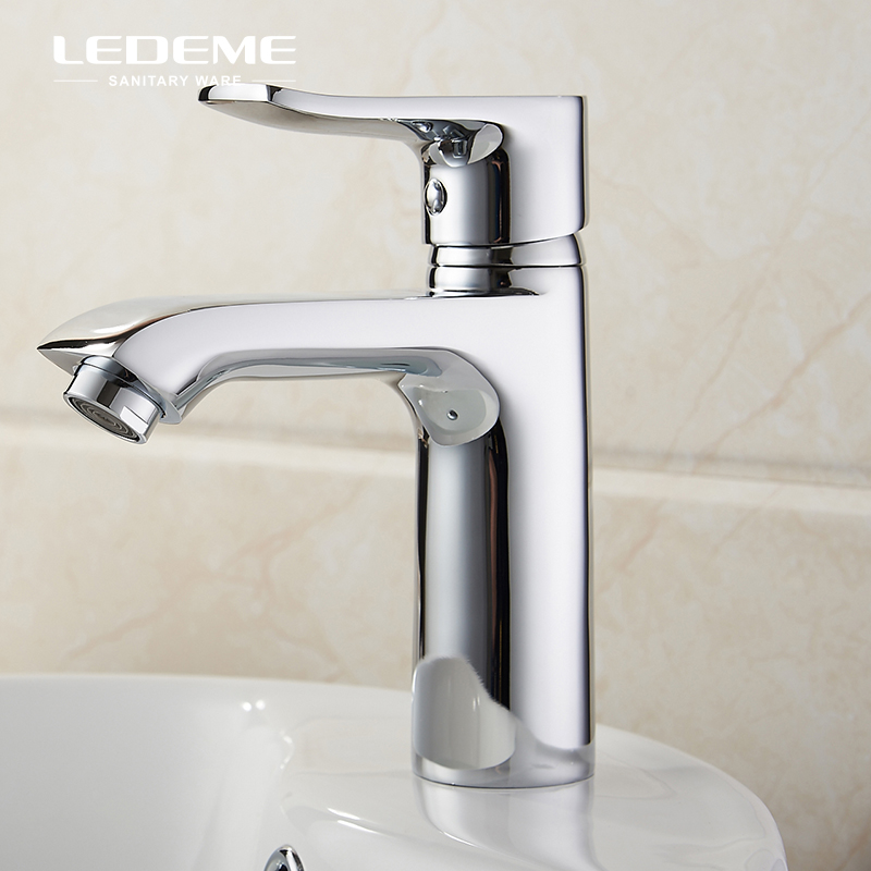 LEDEME Brass Basin Faucet Square Single Handle Lavatory Faucet Basin Sink Mixer Crane For Bathroom, Chrome Finished L1034 free shipping moden single handle lavatory basin bathroom sink faucets chrome finished