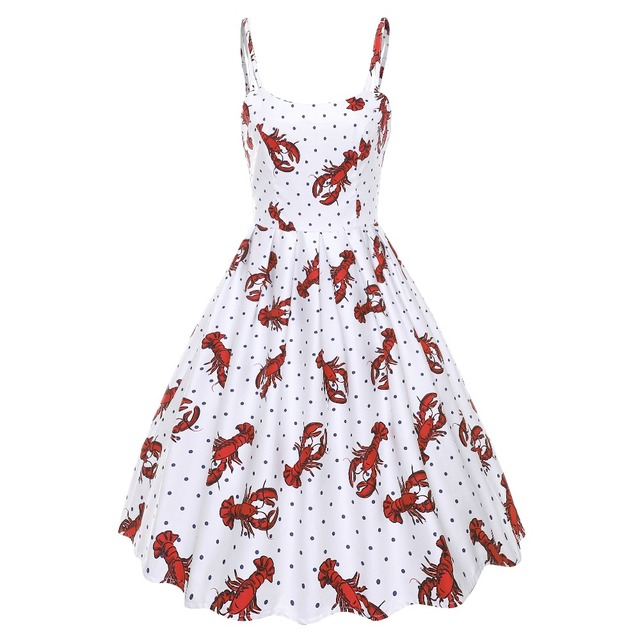 30- summer women vintage 50s pinup lobster polka dot print pleated sundress  plus size rockabilly dresses spaghetti strap vestido 72b1668a6a2d