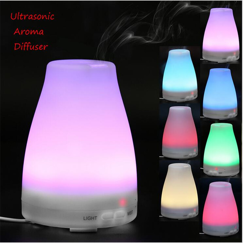 Electric Mini Ultrasonic Aromatherapy Fragrant Humidifier Low Noise Portable Mist Maker LED Light 7 Colors Changing Diffuser penguin low noise portable electric fan