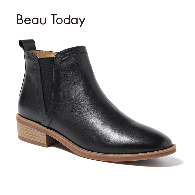BeauToday Women Chelsea Boot Spring Autumn Elastic Genuine Leather Calfskin Ankle Length Lady boots Handmade 03237