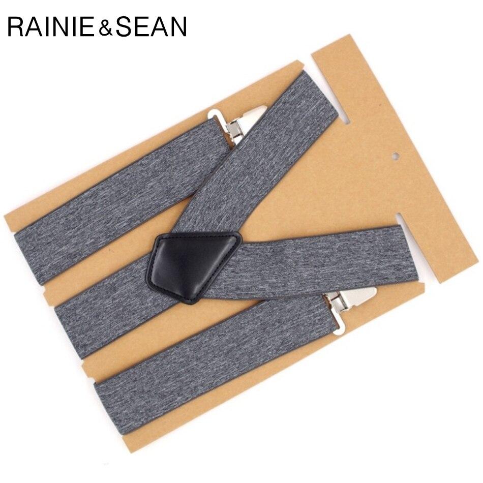 RAINIE SEAN Wide Suspender Belt Men 5cm Mens Braces For Trousers 3 Clips Elastic Brand Male Adult Suspenders For Shirt 120cm