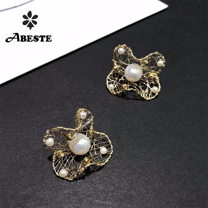 ANI 14 K rouleau or fait à la main femmes Stud boucle d'oreille d'eau douce blanc perle oorbellen rouleau or boucle d oreille Design de mode bijoux