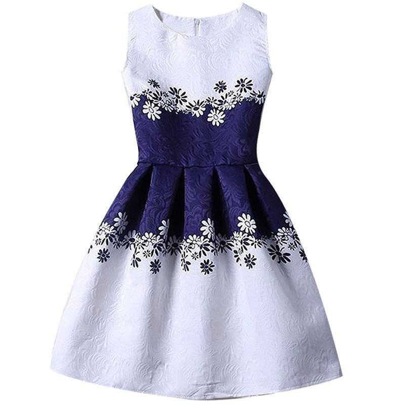 A-line Kids Dresses For Girls Clothing Print Butterflies Blue Teenager Casual Children