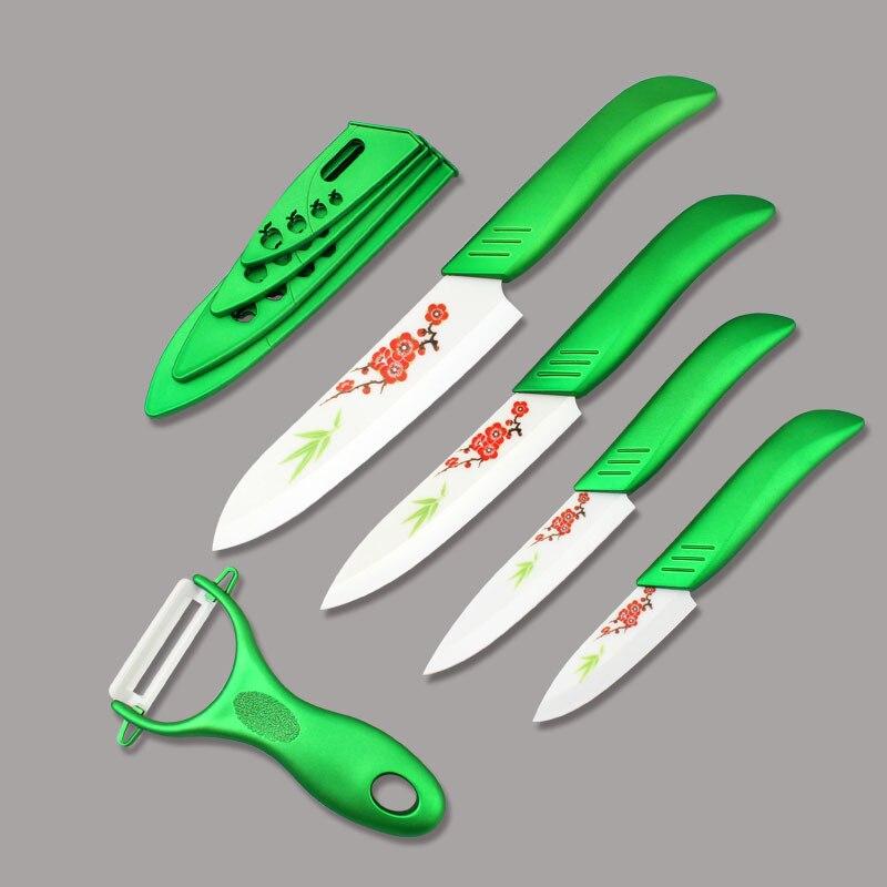 Couteau de Chef de cuisine Findking avec couteau à légumes à fleurs avec lame blanche 3''4''5''6'' pouces + éplucheur + couvercles outils de cuisine