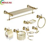 Золотой Аксессуары для ванной набор Бумага держатель/Полотенца бар/Полотенца кольцо/Крючки для ванной и фен стойки