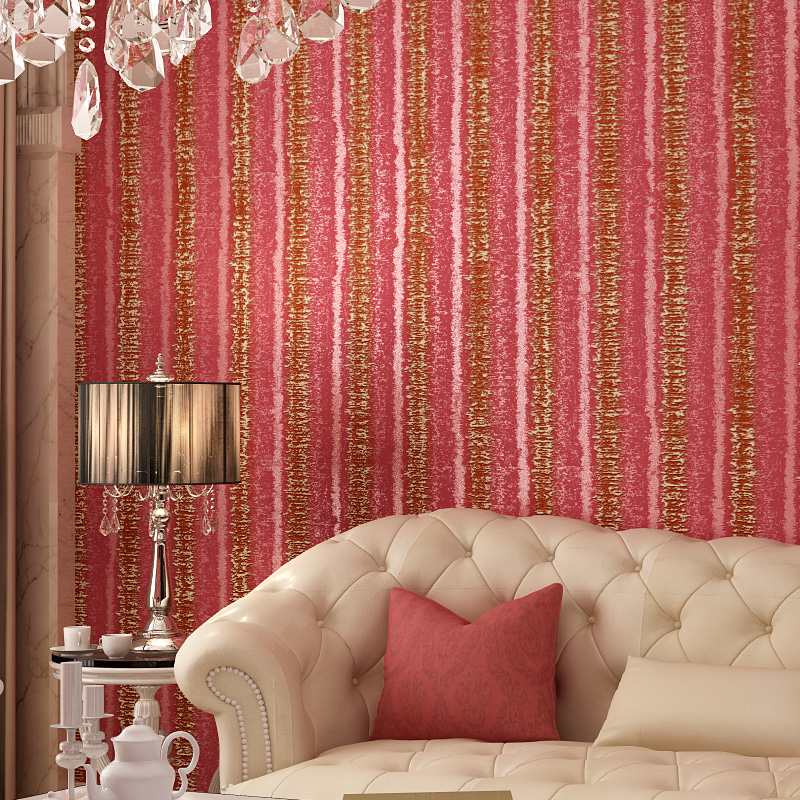 European Vertical Stripes Wallpaper Particolored High Quality Embossed Stripped Non Woven Wall Paper Roll 3D Mural Wallpaper