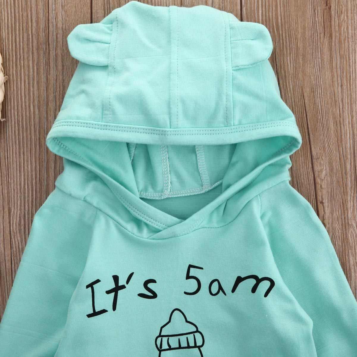 Da criança Do Bebê Dos Miúdos Da Menina do Menino Roupas Casuais Jaqueta de Algodão Com Capuz Tops + Listrado Calças Compridas Roupa 2 pcs Set Outono terno