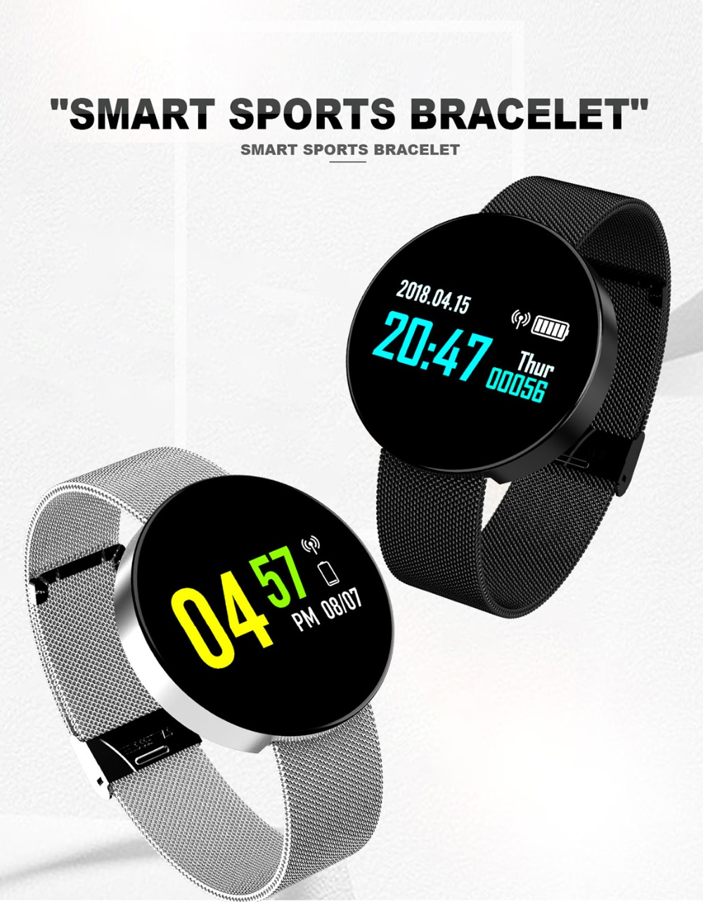sport band watch color screen heart rate monitor watch blood