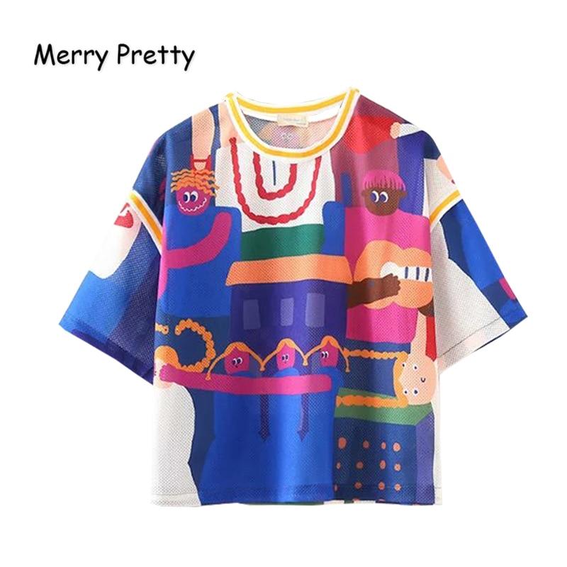 Merry Pretty Women Cartoon Print Mesh T-Shirts 2020 Summer Short Sleeve O-Neck Patchjwork Tees Female Crop Tops Korean Style Top