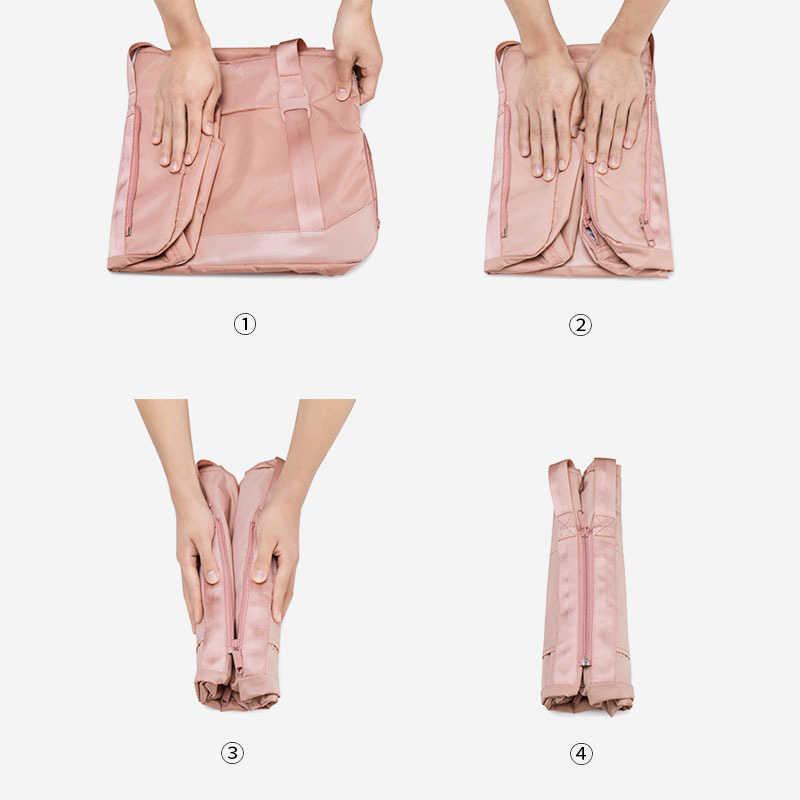 Dobrável Sacos De Viagem Mulheres Roupas Cubos de Embalagem Independente Saco de Sapatos Organizador Bagagem Mala Trolley Duffle Bolsa XA786WB