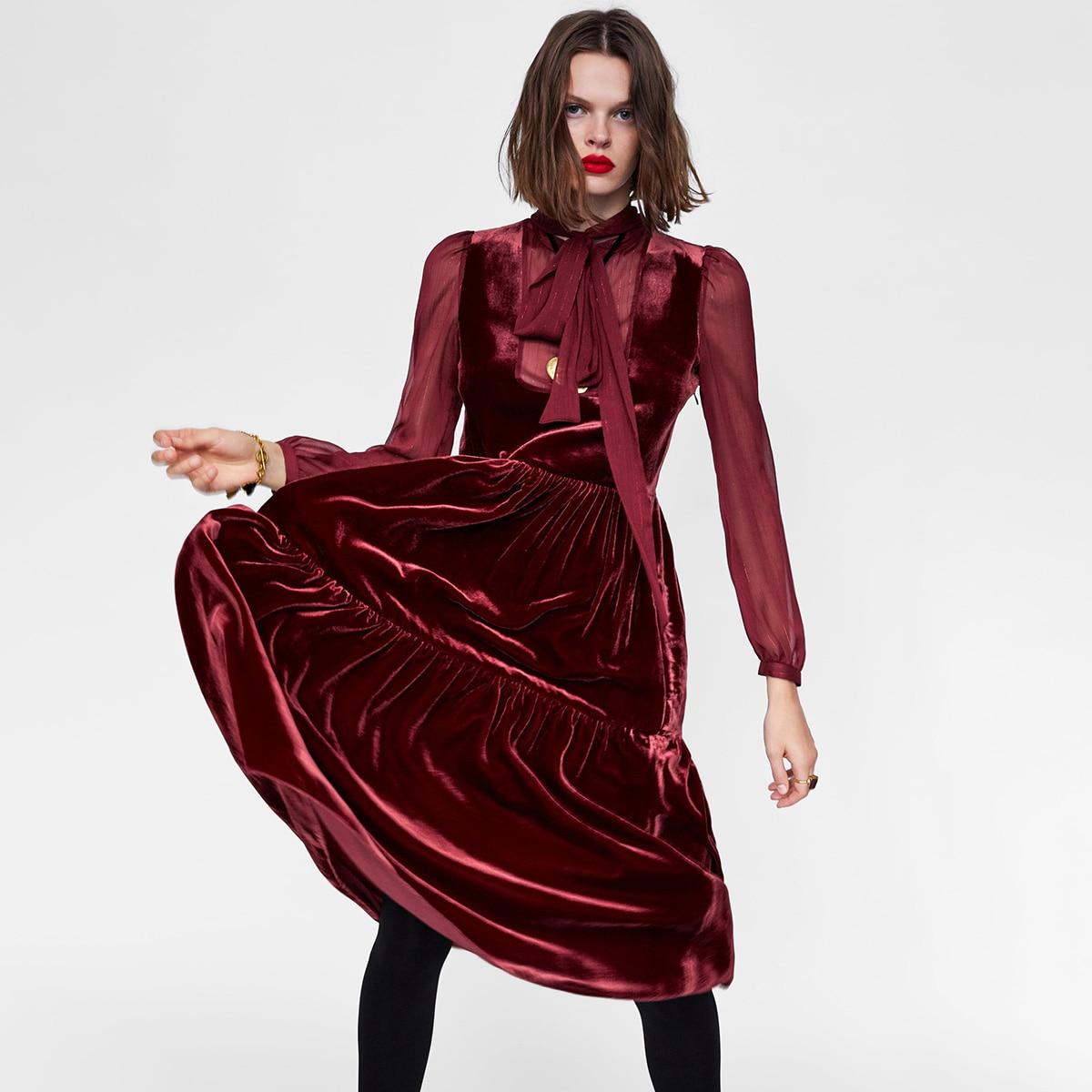 Delle Dell annata Donne Elegante O Vestito Rosso Inverno Manica  Rappezzatura Midi Signore Lungo Borgogna Autunno Della Vestiti Lunga ... f073c8b26c3