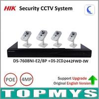 Original Hik P2P Security Camera Kit 8POE NVR DS 7608NI E2 8P 4MP IP Camera DS