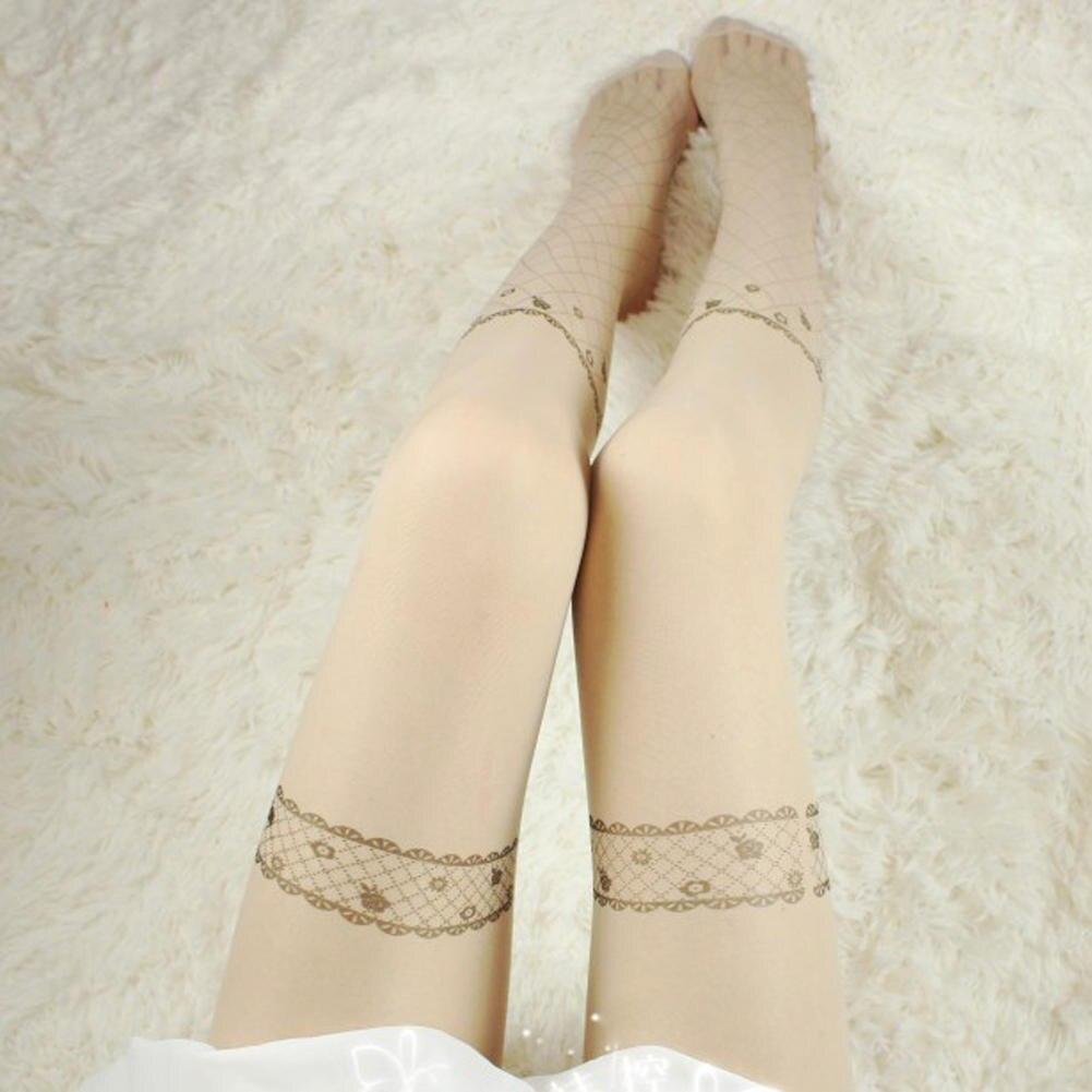 Buy Sexy Women Stockings Leggings Cute Bow Flowers Tattoo Pattern Temptation Sheer See Pantyhose Stretchy Slim Hosiery Hot